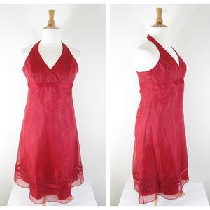 David's Bridal Apple Red Halter Bridesmaid Dress